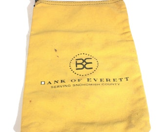 Bank Money Bag, Canvas Coin Bag, Bank of Everett, Vintage Bank Bag