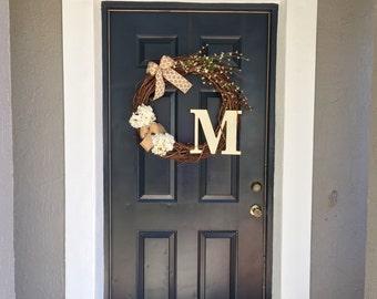 Monogrammed Burlap Wreath