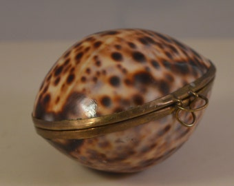 Tiny vintage brass shell jewelry box...