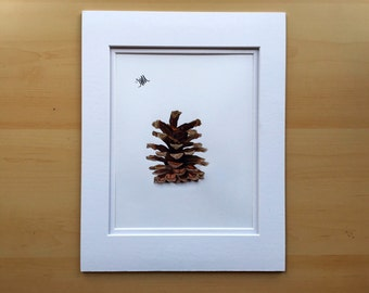 Pine cone drawing, wall art drawing, original pencil drawing, colored pencil drawing, 11x14 drawing, housewarming gift