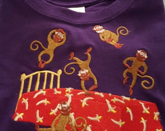 Five Monkeys Jumping on a Bed Embroideried T-shirt