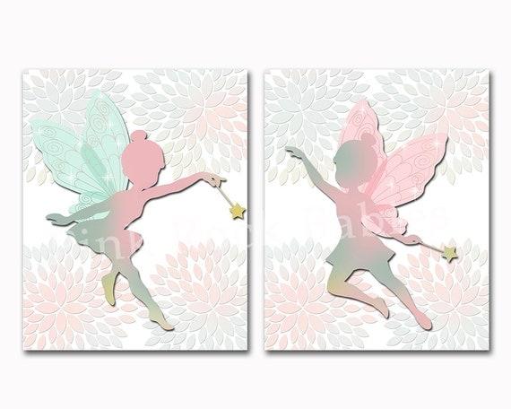Nursery Art For Baby Girl Fairy Wall Decor Kids Room Artwork