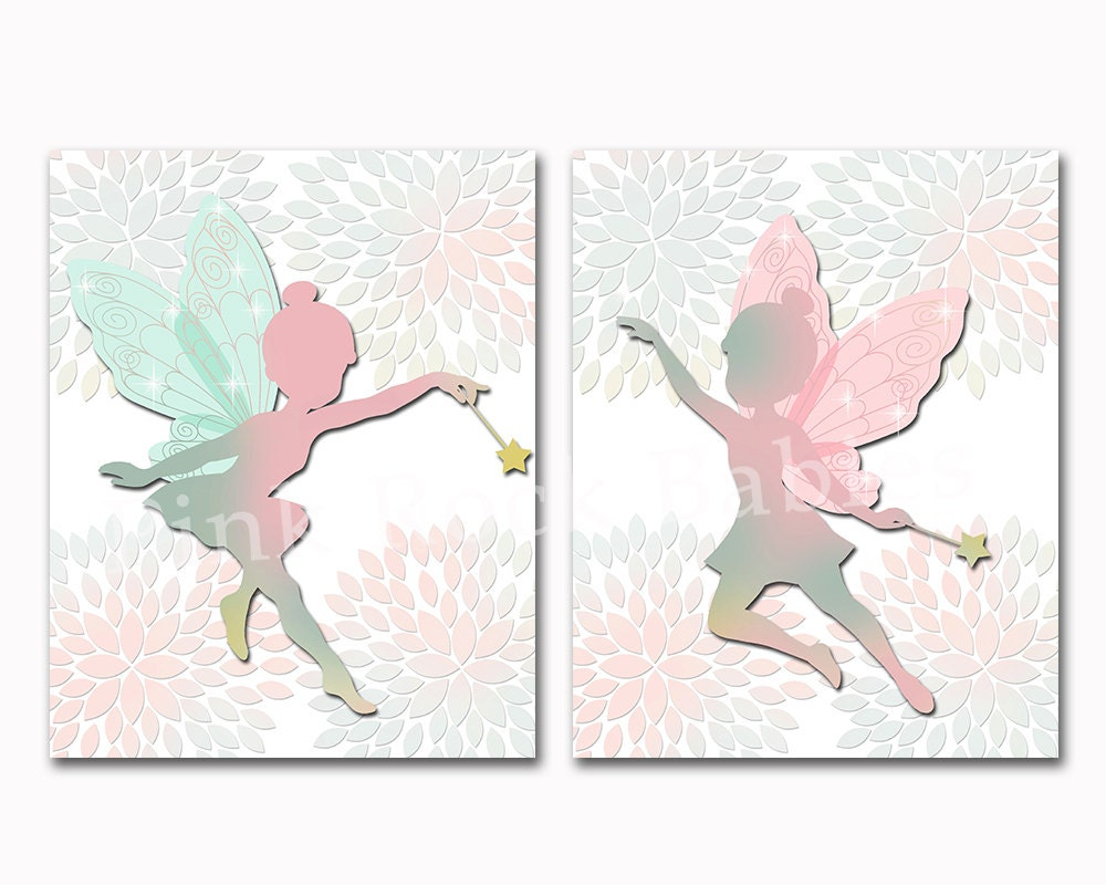 Nursery art for baby girl fairy wall decor kids room artwork for Baby girl wall decoration