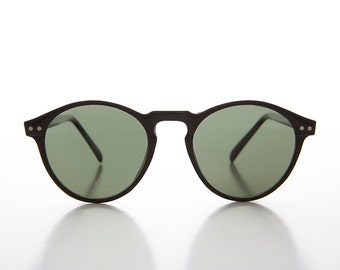 P3 O'Malley Shaped Thin Horn Rim Vintage Black Sunglass with Green Lens - Wyatt