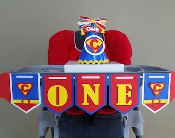 Superman High Chair Banner, Superman I am 1 Banner, Superman I am 1, Superman ONE, Superman Party Decor