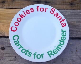 Santa Cookie Plate - Christmas Plate - Christmas Eve Plate - Santa And Reindeer Plate - Christmas Eve Plate - Christmas Decor - Santa Clause