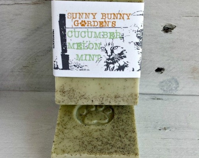 Minty Melon Cucumber Homemade Soap, Organic Mint Soap, Holiday Gifts For Her, All Natural Organic Vegan Soap Mint  Vegan Mint Soap