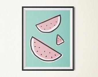 Watermelon art, watermelon print, pink watermelons, children's art, fruit wall art, fruit print, pink wall art, mint, dorm art, kitchen art