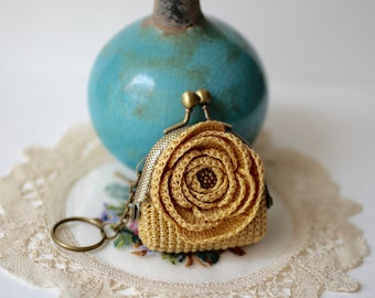 Mustard crochet coin purse with crocheted rose and key ring, gift for her.