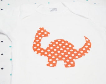 Baby Onesie - Orange Dinosaur