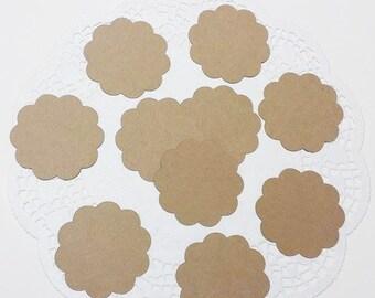 "Scalloped Circle Die Cuts Embellishments: Kraft Cardstock (2.32"" x 2.4"")"