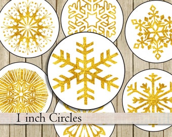 Gold snowflakes 1 inch circles bottlecaps clipart instant digital download gold stars round Christmas images