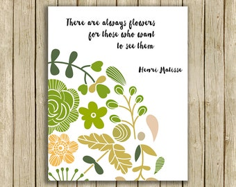 Printable wall art modern home decor flowers quote instant download matisse green beige
