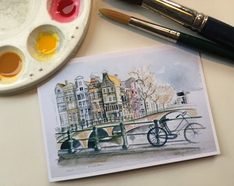 Printed card featuring Dutch canal houses taken from original watercolour painting