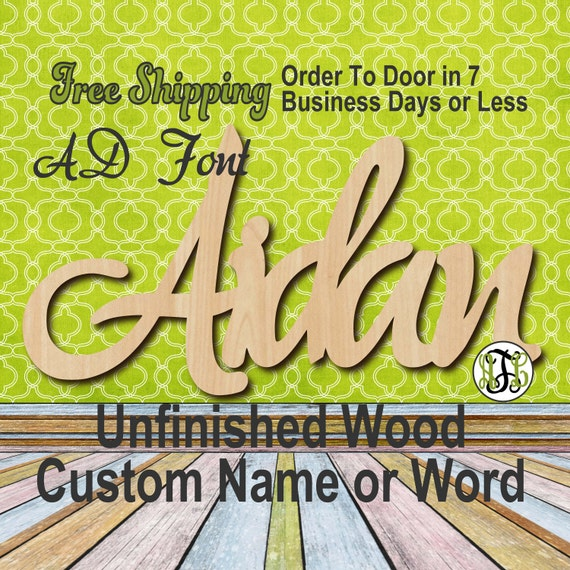 Unfinished Wood Custom Name or Word AD Font, Script, Wedding, laser cut wood, wooden cut out, Connected, Personalized
