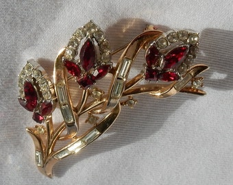 SALE Trifari Pat. Pending Brooch - Ruby Colored Rhinestones - Designed by Alfred Philippe