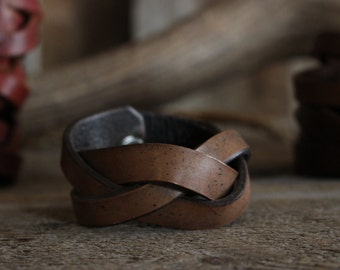 Handmade Antique Brown Mystery Braid Leather Cuff 6""