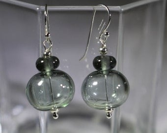 Hollow lampwork bead in shades of charcoal