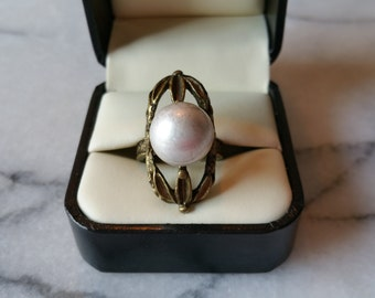 Vintage JEWELMINT Brass Victorian Style with Silvery White Pearl Ring Size 5 1/2