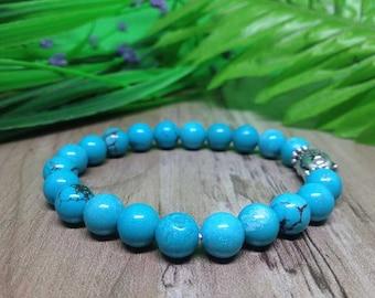 Positive Energy Rainbow Obsidian Turquoise Yoga Bracelet