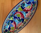 Handpainted mosaic large dish. Sharing bowl. Food platter. Dinner party. Food bowl. Fish bowl. Home decor