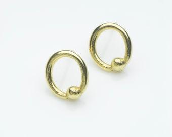Circle and orb stud earrings, 18 carat gold stud earrings.