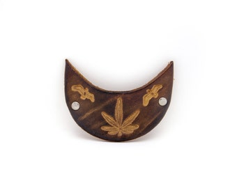 Vintage leather barrette. Tooled leather. Stamped leather. Hair accessories. Hair clip.