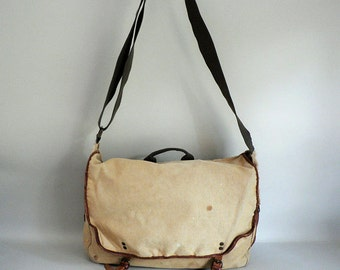 Distressed Military Style Canvas Messenger Tote Bag