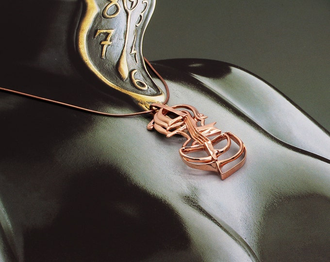 Salvador Dali Cello Necklace, Surrealist Jewelry, Contemporary Art, music jewelry