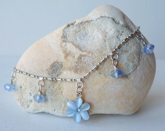 Silver Ankle Chainn Vintage Dangle Blue Flower Ankle Crystal Beads Blue Cats Eye Silver Minimalist Anklet, Retro Dangle Anklet,Girls Jewelry