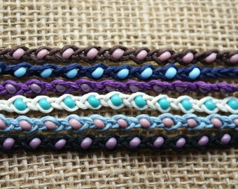 Vine Braided Beaded Friendship Bracelet -Tie On