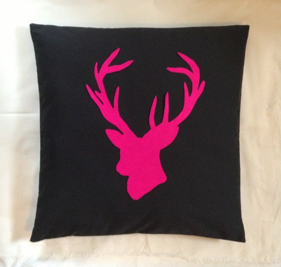 stag black neon pink deer head cushion pillow cover animal. Black Bedroom Furniture Sets. Home Design Ideas