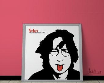 John Lennon Digital Art Print - Inspirational Wall Art, Printable Art, Funny Poster Art, Canvas Art, Instant Digital Download