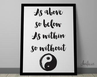 As above so below, As within so without Digital Art Print - Inspirational Wall Art, Spiritual Quote Canvas Art, Printable Typography Art
