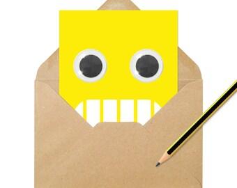 Googly Eyed Grimace Emoji Card A6