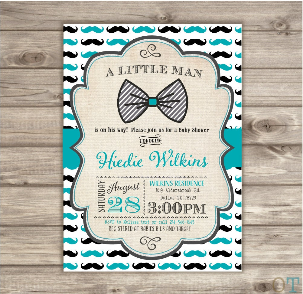 Mustache And Bow Tie Baby Shower Invitations Part - 37: Details. ? Little Man Bow Tie Mustache Baby Shower Mustache Invitation.