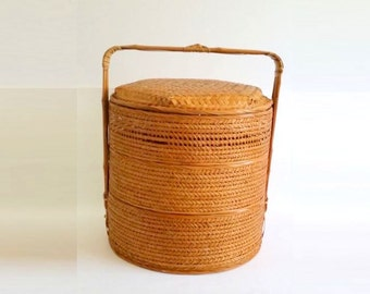 Vintage Stack Basket / Chinese Wedding Basket / Woven Wicker Basket / 3-Tier Basket /  Rattan, Bamboo Made Container