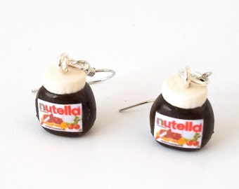 Miniature Nutella jars dangle Earring with Silver Plated or Sterling Silver your choice, Miniature food jewelry, polymer clay earrings