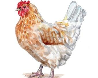 Watercolor Chicken / Farmhouse Chicken / Brown Hen / Farmhouse decor / Farm House Art / Chicken Art