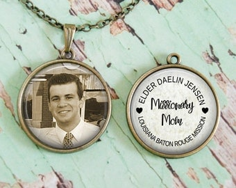Missionary Necklace, Custom, Missionary Mom, Sister Missionary, Missionary Dad  Double sided pendant. Choice of necklace or keychain.  Gift.