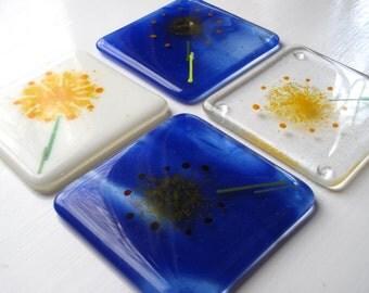 4 Glass coasters, Fused glass coasters, Flower coasters, Dandelion, Glass coaster, Fused glass, Unusual gifts, coaster set, Coaster set