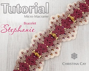"TUTORIAL PDF Micro-Macrame bracelet ""Stephanie"" pattern beaded macrame"