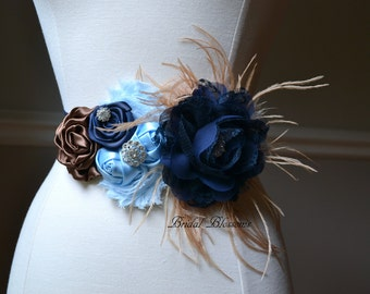 JAMIE Brown Navy Blue Flower Maternity OR Bridal Sash | It's A Boy | Newborn Photo Prop | Baby Shower Belly Band | Maternity Belt | Feathers