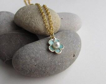 Flower Girl Necklace, Flower Girl Gift, Flower Charm Necklace, Floral Jewelry, Enamel Jewelry, Gift For Her