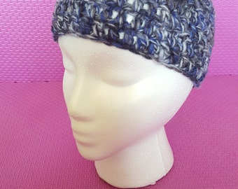 Blue and grey crocheted Headband