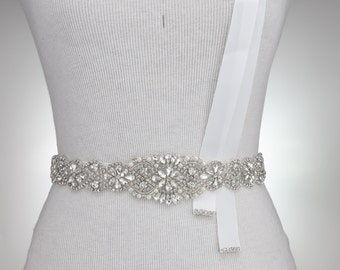 "37"" L Crystal Wedding Belt Bridal Sash Rhinestone Crystal Sash Wedding Dress Sash Belt Crystal Rhinestone Trim DIY Wedding Sash 1119"