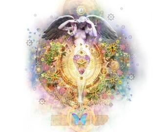 Heaven & Earth handmade card (white)