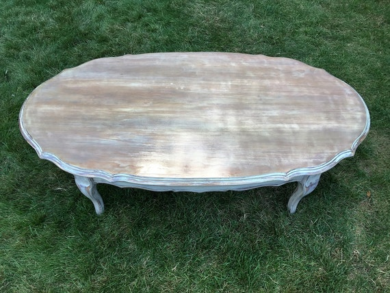 SOLD - Oval Coffee Table, Distressed Coffee Table, Shabby Chic, Oval Cocktail Table, Distressed Cocktail Table