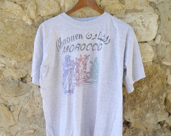 Vintage Distressed Moroccan Chaouen Tourist T Shirt