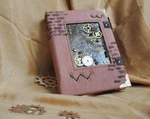 Coptic steampunk notebook, Notebook A5, Diary, Journal, Personalized Notebook, Personalized notebook with lock